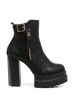 Buckle Platform Double Zipper Ankle Boots - Black 38