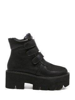 Platform Chunky Heel Splicing Short Boots - Black 38