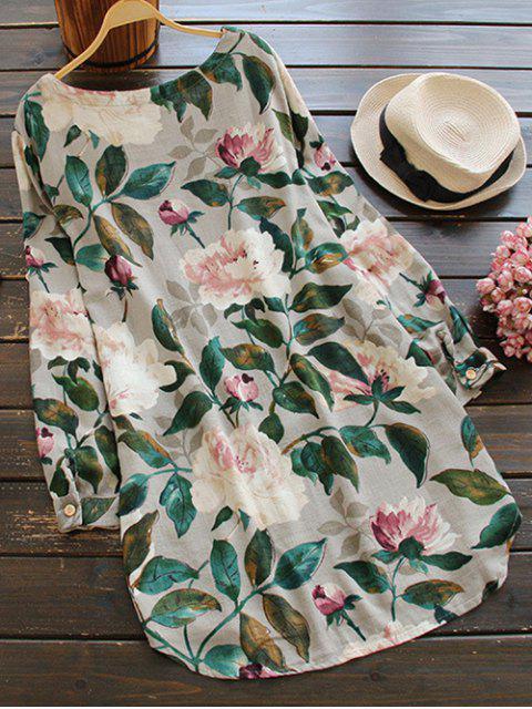 Vestido Blusa Lino Manga Larga Floral - Floral Talla única Mobile