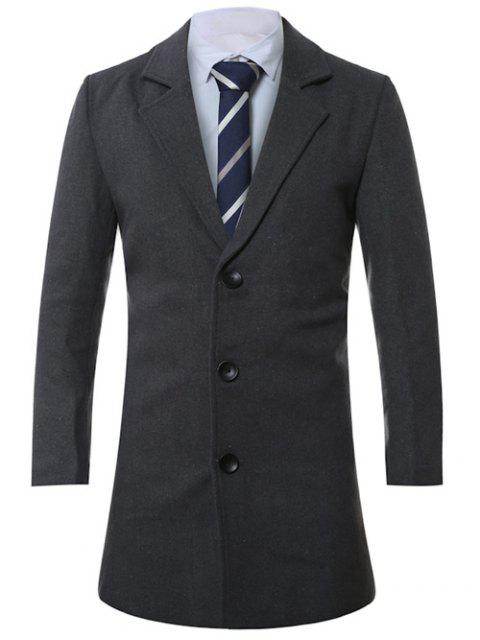 latest Lapel Single-Breasted Lengthen Wool Coat - DEEP GRAY 2XL Mobile