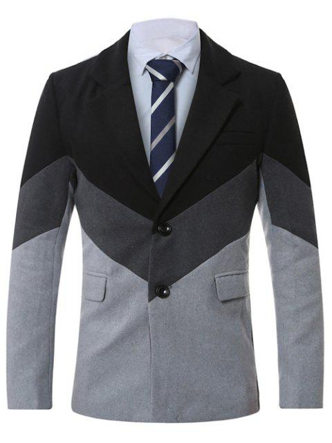 fancy Lapel Single-Breasted Color Block Splicing Wool Coat - LIGHT GRAY XL Mobile