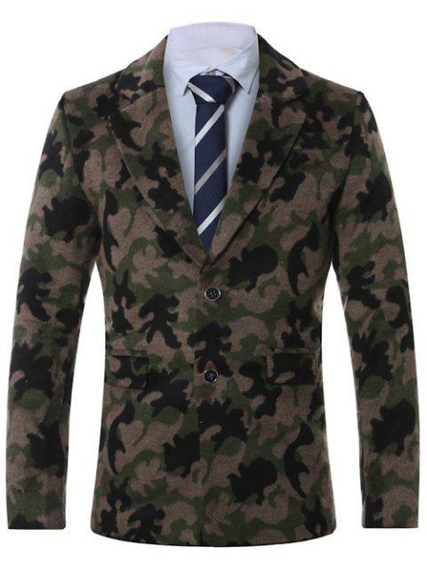 Manteau Camouflage Imprimé avec Simple Boutonnage à Col Revers - Vert Armée 4XL Mobile