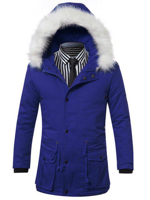 Col en fausse fourrure à capuchon avec cordon de serrage Poches Zip-Up Manteau matelassé - Bleu L Mobile