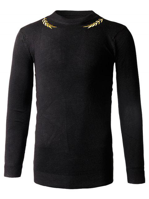 affordable Slim-Fit Crew Neck Embroidery Sweater - BLACK M Mobile