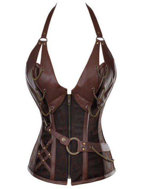 fashion Halter Faux Leather Steel Boned Corset - COFFEE L Mobile