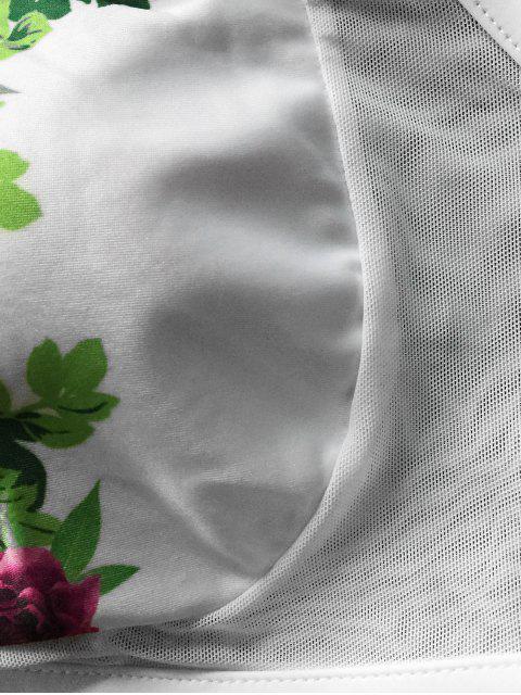 womens Round Neck Padded Scenery Bikini Set - WHITE M Mobile