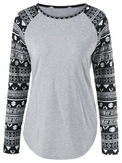 chic Long Tribal Sleeve T-Shirt - LIGHT GRAY XL Mobile
