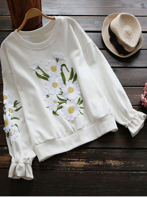 women Floral Applique Sweatshirt - WHITE S Mobile