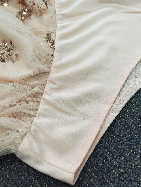 Combinaison pailletée à épaules dénudéés  manches évasées - ROSE PÂLE XL Mobile