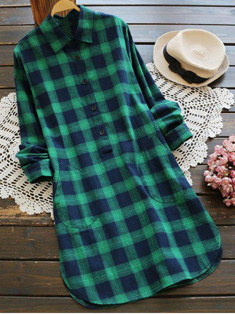 latest Pockets Plaid Tunic Flannel Shirt Dress - GREEN L Mobile