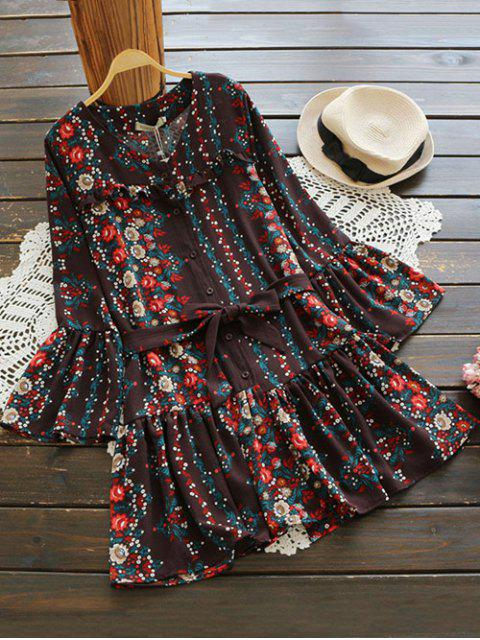 affordable Bell Sleeve V Neck Tiny Floral Dress - COFFEE ONE SIZE Mobile