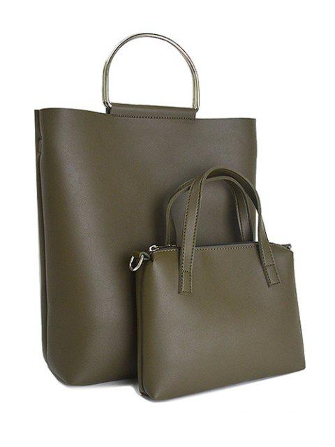 lady Magnetic Metal Handle PU Leather Tote Bag - ARMY GREEN  Mobile