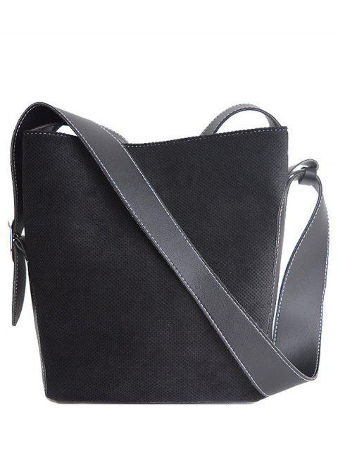 womens Corduroy Magnetic Closure Splicing Shoulder Bag - BLACK  Mobile