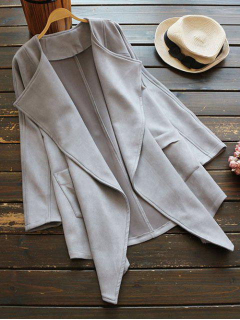 latest Suede Drape Front Coat - GRAY ONE SIZE Mobile