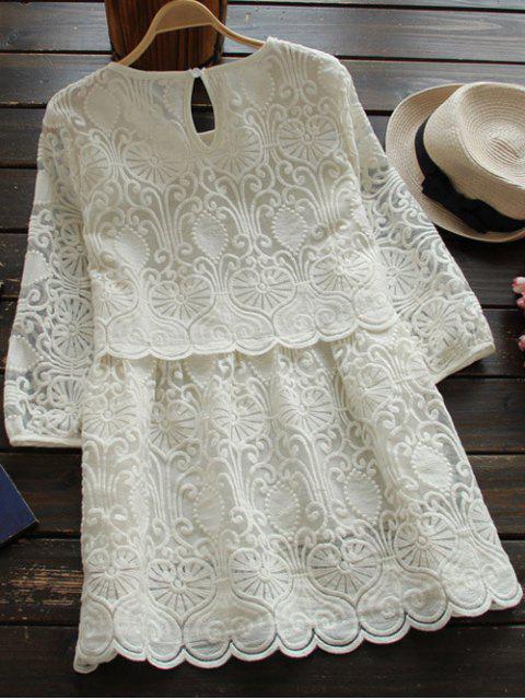 Mini robe brodée à manches aux 3/4 et à col round - Blanc M Mobile