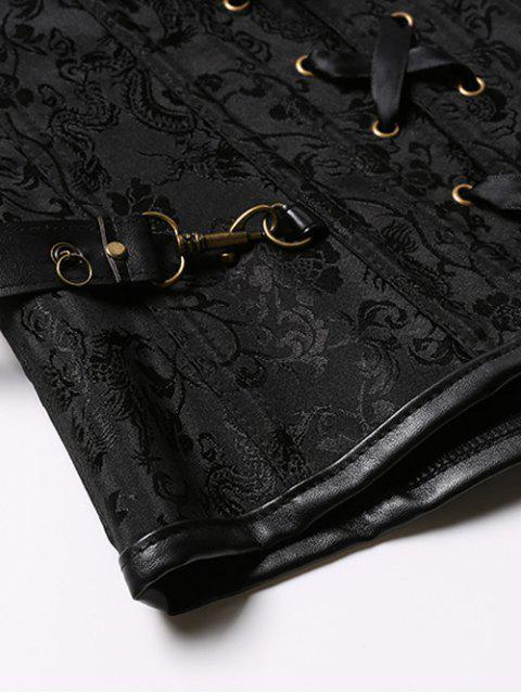 ladies Halter Faux Leather Steel Boned Corset - BLACK 3XL Mobile