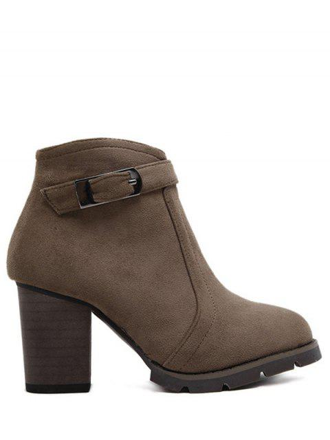 women Dark Colour Zipper Buckle Ankle Boots - DARK COFFEE 39 Mobile