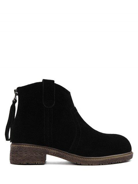 hot Zipper Dark Colour Suede Ankle Boots - BLACK 37 Mobile