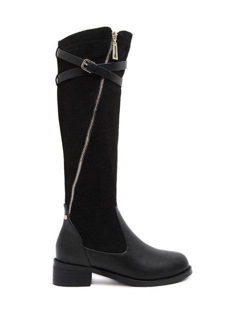 Cross Straps Buckle Splicing Bottes - Noir 37 Mobile