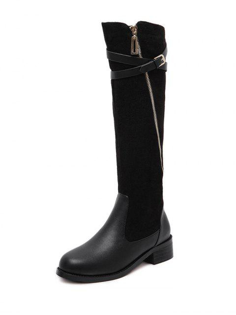 trendy Cross Straps Buckle Splicing Boots - BLACK 37 Mobile