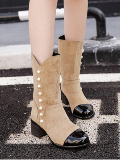 chic Faux Pearls Splicing Flock Mid-Calf Boots - APRICOT 39 Mobile