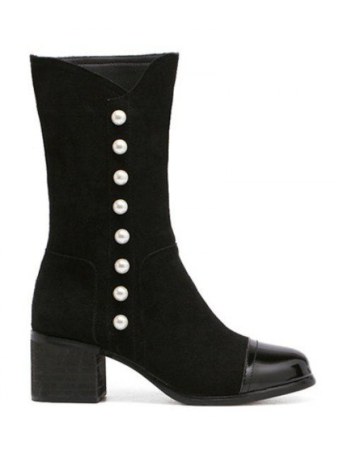 women's Faux Pearls Splicing Flock Mid-Calf Boots - BLACK 38 Mobile