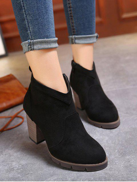 hot Suede Dark Colour Chunky Heel Ankle Boots - BLACK 38 Mobile