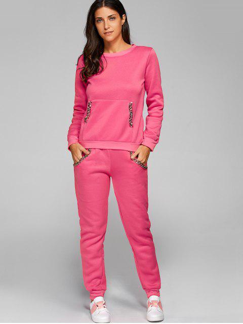 shops Chain Embellished Sweatshirt + Pants - DEEP PINK S Mobile