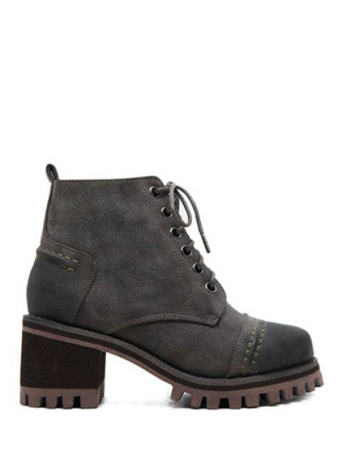 latest Chunky Heel Platform Lace-Up Ankle Boots - GRAY 38 Mobile