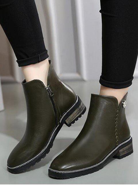 trendy Chain Stitching Button Ankle Boots - ARMY GREEN 39 Mobile