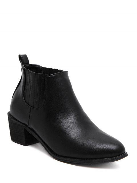 womens Stitching Chunky Heel Pointed Toe Ankle Boots - BLACK 38 Mobile