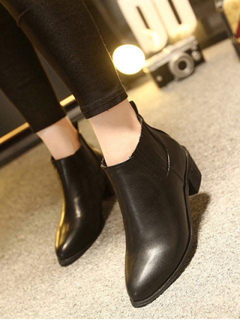 affordable Stitching Chunky Heel Pointed Toe Ankle Boots - BLACK 39 Mobile