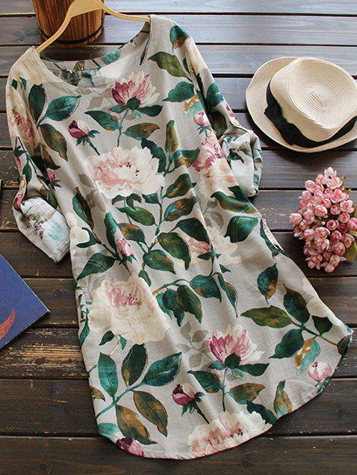 Blumiges Langarm-Leinen Bluse Kleid
