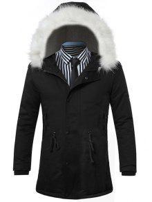 فروي هود الرباط زمم مبطن معطف - أسود L