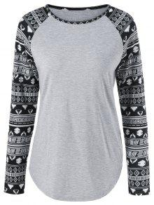 Camiseta De Manga Larga Tribal - Gris Claro Xl