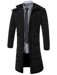 مقنعين جيوب إطالة أسفل معطف - أسود L