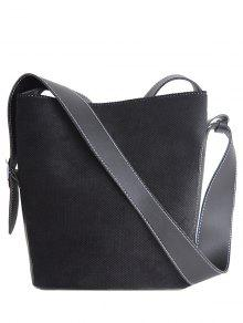 Corduroy Magnetic Closure Splicing Shoulder Bag - Black