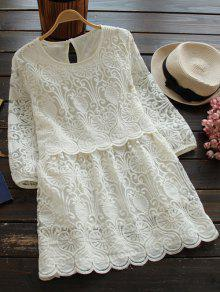 Retro Mini Vestido Bordado - Blanco L