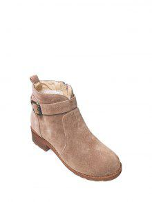Buckle Flock Chunky Heel Ankle Boots - Camel 37