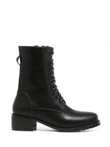Buy Zipper PU Leather Tie Short Boots 38 BLACK