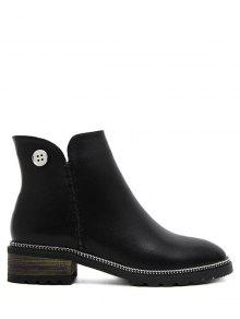 Buy Chain Stitching Button Ankle Boots - BLACK 38