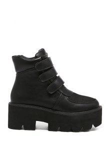 Buy Platform Chunky Heel Splicing Short Boots - BLACK 37