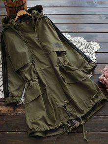 Hooded Drawstring Utility Trench Coat - Army Green S