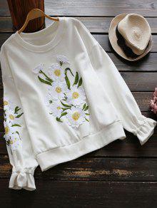 Floral Apliques Con Capucha - Blanco M