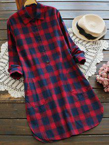 Bolsillos Del Vestido De Camisa A Cuadros - Rojo M
