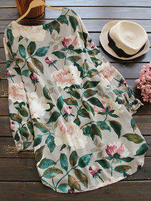 Floral Long Sleeve Linen Blouse Dress