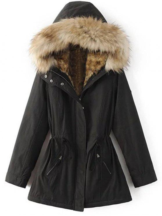 affordable Faux Fur Lined Parka Coat - BLACK S