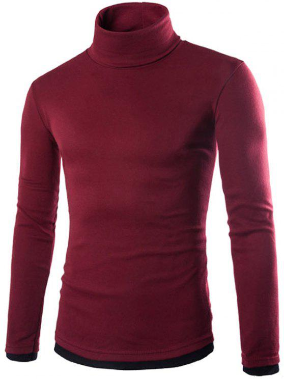 trendy Faux Twinset Design High Neck Long Sleeve Knitwear - WINE RED XL