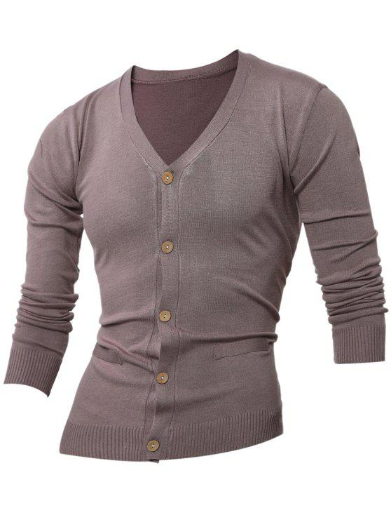best Slimming V Neck Button Up Cardigan - KHAKI 2XL