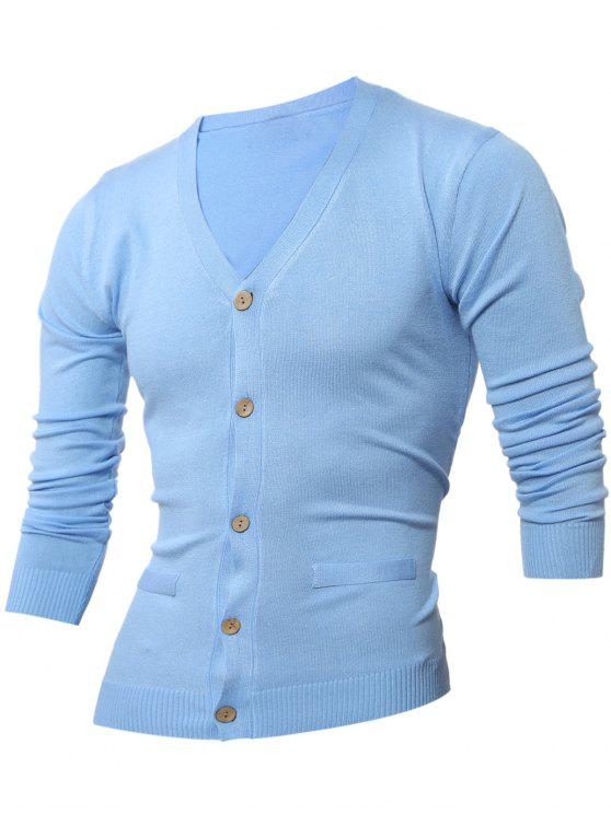 women Slimming V Neck Button Up Cardigan - LIGHT BLUE L